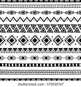 Seamless ethnic pattern. Handmade. Horizontal stripes. Black-and-white print for your textiles. Vector illustration.