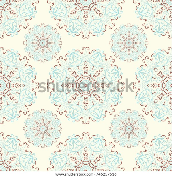 Seamless ethnic pattern with mangalas. Vector, indian. For fabric, web-sites and paper. Boho chic design. Summer fashion. For wallpaper, pattern fills, coloring books and pages for kids and adults.
