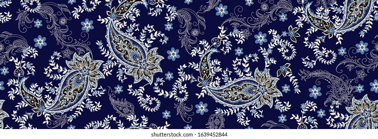 Seamless ethnic pattern of paisley and  decorative floral branches. Indian motif. Vector background