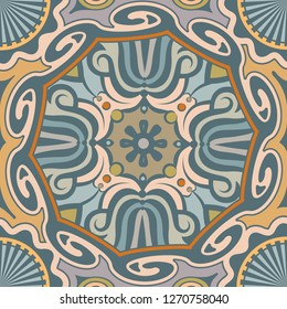 Seamless Ethnic Pattern with Rotated Shapes and Stripes. Vector Illustraton for Textile Design