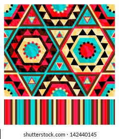 Seamless ethnic pattern with striped companion. Vector illustration