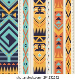 Seamless Ethnic Pattern for Textile Design. Stylish Tribal Background. Bright Vector Tribal Texture with Triangles, Rhombuses and Lines in Vertical Stripes.