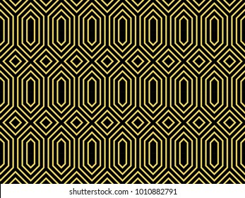 Seamless ethnic pattern vector. Design black on yellow. Design print for textile, wallpaper, fabric, background.