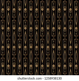 Seamless of ethnic pattern vector. Design rhombus with lines vertical gradient gold on black background. Design print for illustration, textile, garment, wallpaper, background, banner.