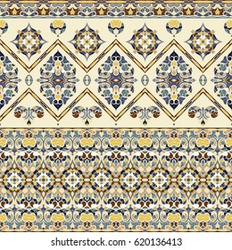 Seamless ethnic patterns for border. Repeated oriental motif for fabric or paper design. Colored frieze in Arabic style.