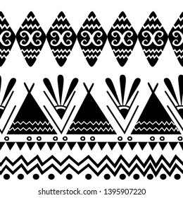 Seamless ethnic and tribal pattern. Handmade. hand drawn stripes. Black-and-white print for your textiles.