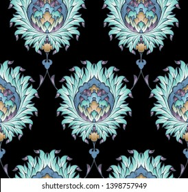 Seamless ethnic turquoise flower damask pattern vector