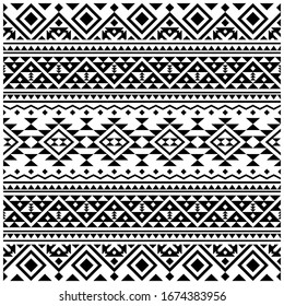 Seamless Etnic Pattern in black and white color. BW Aztec Tribal Aztec Pattern