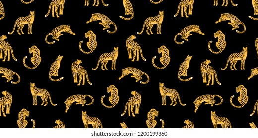 Seamless exotic pattern with abstract silhouettes of leopards. Vector hand draw design.