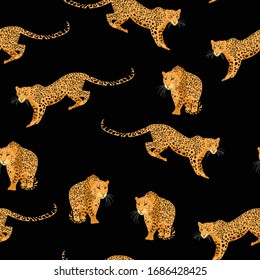 Seamless exotic pattern with abstract silhouettes of leopard animals. Hand draw illustration. Black background.