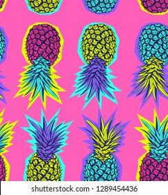 Seamless exotic pattern. Bright colored Tropical pineapple in a Zine Culture style. Textile composition, hand drawn style print. Vector illustration.