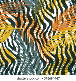 Seamless exotic pattern with palm leaves and animal pattern . Vector hand draw illustration.