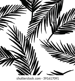 Seamless exotic pattern with palm leaves . Vector hand draw illustration.