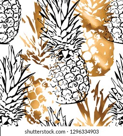 Seamless exotic pattern. Stamp of a Tropical Gold and black contour Pineapple on a white background. Textile composition, hand drawn style print. Vector illustration.