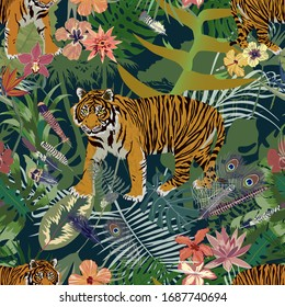 Seamless exotic pattern with tiger, leaves, flowers, feathers.