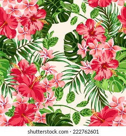 Seamless exotic pattern with tropical leaves and flowers on a  white background.  Plumeria, hibiscus, monstera, palm. Vector illustration.