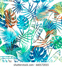 Seamless exotic pattern with tropical leaves. Vector hand draw background.