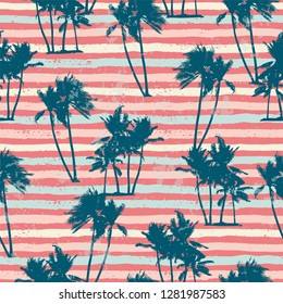Seamless exotic pattern with tropical plants and stripes background. Modern abstract design for paper, cover, fabric, interior decor and other users.