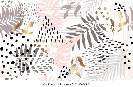 Seamless exotic pattern with tropical plants and gold elements Vector hand draw tropical leaves  background  for paper cover fabric case
