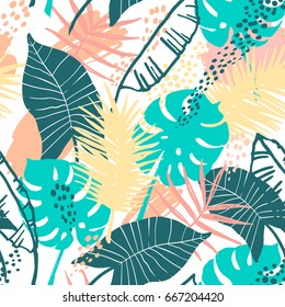 Seamless exotic pattern with tropical plants. Vector hand draw background.