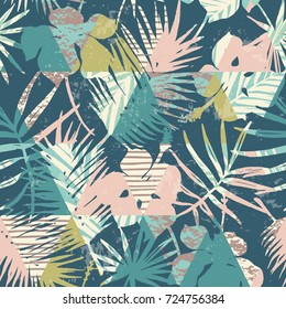 Seamless exotic pattern with tropical plants and geometric background. Hand draw texture. Vector template.
