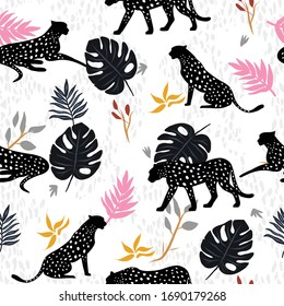Seamless exotic tropical pattern.Cheetah, leaf and plants. Vector illustration design for fashion fabrics, textile graphics, prints, wallpapers and other uses.