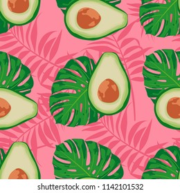 Seamless  exotic vector pattern with avocado slices and leaves of monstera on trendy pink background.