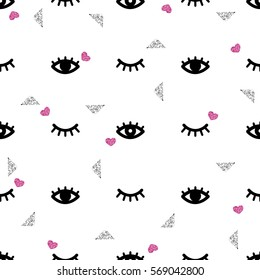 seamless eye and eyelash with glitter pattern background