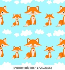 Seamless family fox cloud pattern