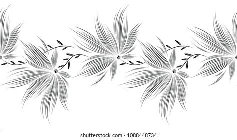 Seamless fancy black and white floral border