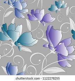 Seamless fancy colorful floral pattern on silver background