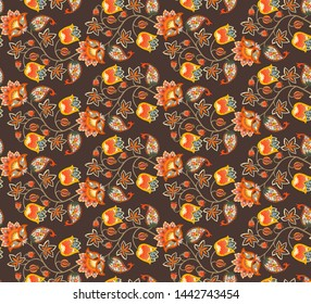 Seamless fantasy pattern with flowers, leaves, berries and paisley on dark brown background. Ethnic style. Print for fabric. Russian motif.
