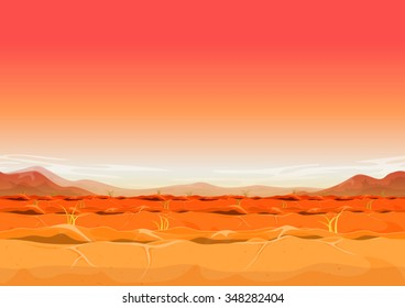 Seamless Far West Desert Landscape For Ui Game/ Illustration of a seamless far west desert landscape background in the sunshine for ui game