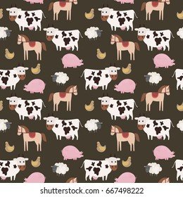 Seamless farm pattern with farm animals. Vector illustration