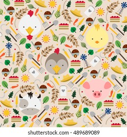 Seamless farm pattern in flat graphics. Animals vector Illustration on farm background