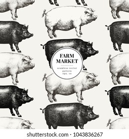 Seamless farm vector pattern. Graphical pig silhouette, hand drawn retro illustrations. Vintage farm animals background, banner template.