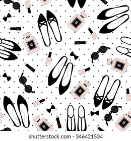 Seamless fashion accessories pattern. Cute fashion illustration with black shoes, pink lipstick, nail polish, perfume, sunglasses on polka dots background.