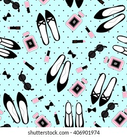 Seamless fashion accessories pattern. Cute fashion illustration with black shoes, pink lipstick, nail polish, perfume, sunglasses on mint green polka dots background.