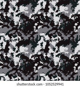 Seamless fashion black and gray camouflage pattern vector. Dark urban camo backdrop, print for clothes or another masking surfaces, wallpaper or wrapping paper