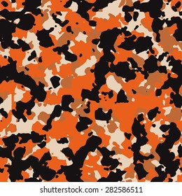 Seamless fashion black and orange camouflage pattern vector