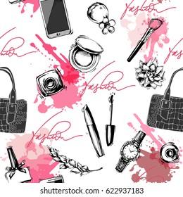 Seamless fashion and cosmetics background with make up artist objects: ladies watch, handbag, nail Polish,mascara, lipstick, perfume. Vector illustration
