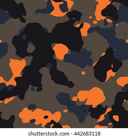 Seamless fashion dark and orange hunting camo pattern vector