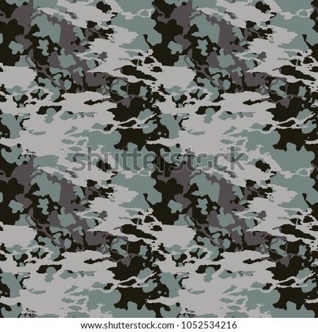 Seamless Fashion Dusty Blue Black Gray Stock Vector Royalty