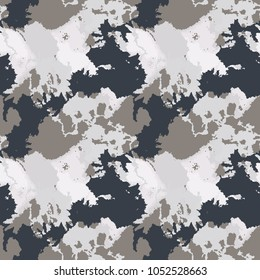 Seamless fashion grey, black and white camouflage pattern vector. Urban camo backdrop, print for clothes or another masking surfaces, wallpaper or wrapping paper