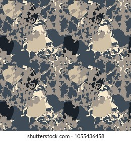 Seamless fashion navy, black and sandy beige camouflage pattern vector. Urban camo repeat backdrop, print for clothes or another masking surfaces, wallpaper or wrapping paper