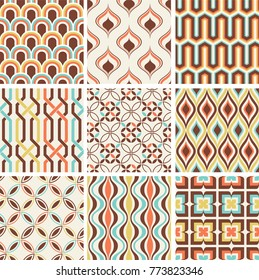 Seamless fashion nostalgic geometric pattern. Retro textile print in vector format. Perfect for Cushion/Pillow Cover