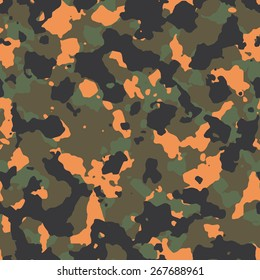 Seamless fashion woodland with orange spots camouflage pattern vector