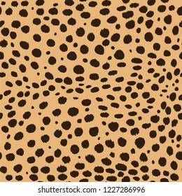 Seamless Faux Cheetah Skin Pattern with dark spots on light brown background. Vector illustration cheetah skin repeat surface pattern.