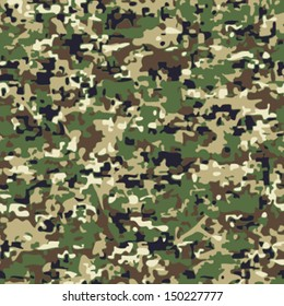 Seamless Faux Digital Woodland Camouflage Background Pattern
