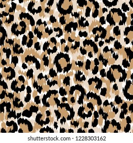 Seamless Faux Leopard Skin Pattern with black and brown spots. Vector illustration animal repeat surface pattern.